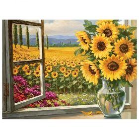Комплект за рисуване по номера с акрилни бои Royal - Слънчогледови поля 39х30 см