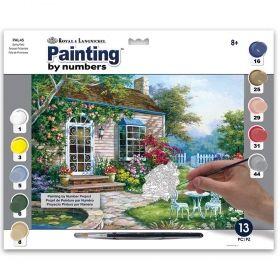 Комплект за рисуване по номера с акрилни бои Royal - Цветна градина 39х30 см