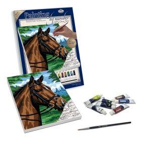 Комплект за рисуване по номера с акрилни бои върху платно Royal - Кон 23х30 см