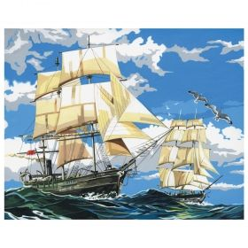Комплект за рисуване по номера с акрилни бои върху платно Royal - Ветроходен кораб 36х28 см