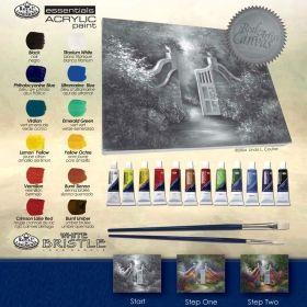 Комплект за рисуване с акрилни бои върху платно Royal Masterpiece - Градина, 23х30 см