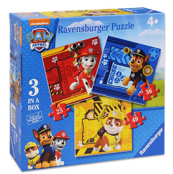 Пъзел Ravensburger 3 в 1 - Руби, Маршал и Чейс, Пес Патрул