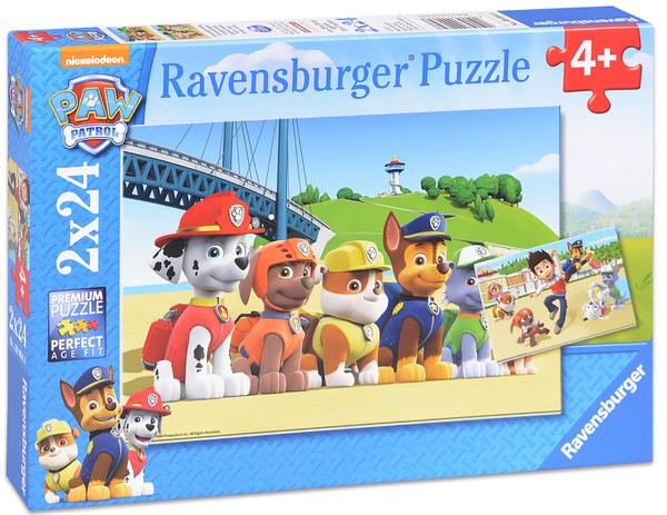 Пъзел Ravensburger от 2 x 24 части - Кученца герои, Пес патрул