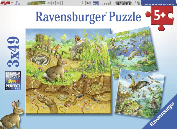 Пъзел Ravensburger от 3 x 49 части - Животни в природата
