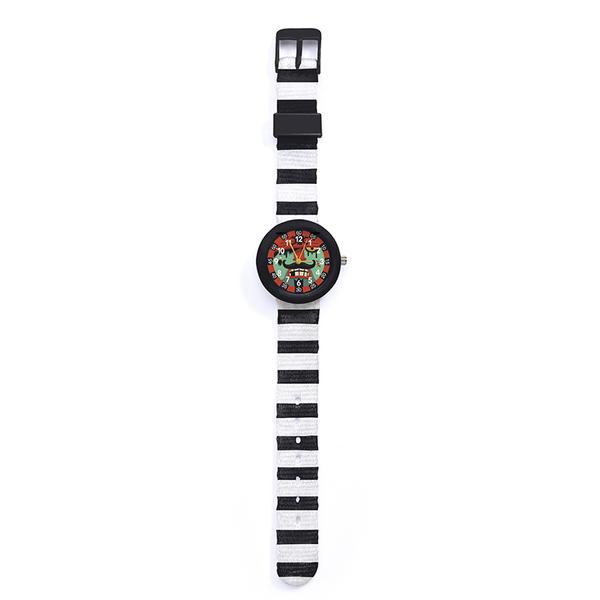 Ръчен часовник Djeco - Montre Pirate, устойчив на пръски, чернобял