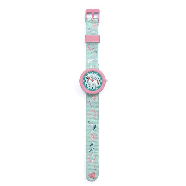 Ръчен часовник Djeco - Montre Horse, устойчив на пръски, розов-зелен