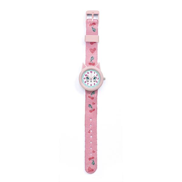 Часовник Djeco - Montre Cat, устойчив на пръски, розов