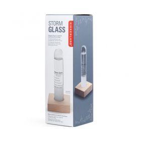 Настолен стъклен барометър Kikkerland - Storm Glass, букова основа