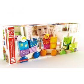 Hape Разноцветно влакче с дървени кубчета