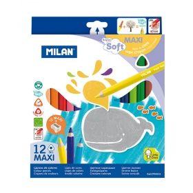 Цветни моливи Milan Super Soft 12 цвята, с включена острилка