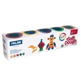 Тесто за моделиране Milan Soft Dough Glitter, 5 цвята