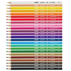 Цветни акварелни моливи Milan Triangular, 24 цвята, с включена четка