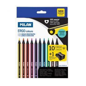 Цветни моливи Milan Ergo, 10 цвята, с включена острилка