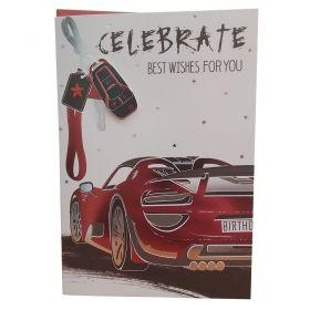 """Поздравителна картичка """"Честит рожден ден"""" - Кола, с плик"""