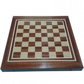Кутия за шах и табла с естествен фурнир махагон/ясен 34/34