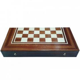 Кутия за шах и табла с естествен фурнир махагон/ясен 48/48