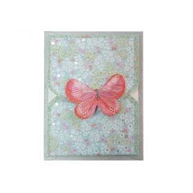 Мини поздравителни картички с пеперуда, розова