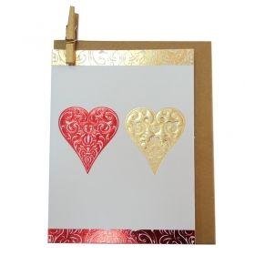 """Мини поздравителна картичка """"Сърца"""""""