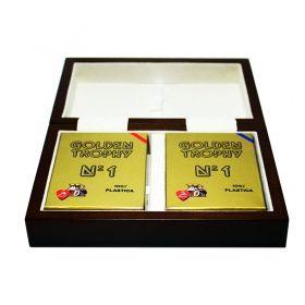 Дървена кутия с 2 тестета карти Modiano Old Trophy