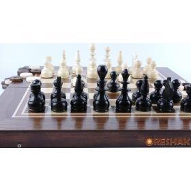 Комплект шах и табла с естествен тъмен орех - ръчна изработка 48/48