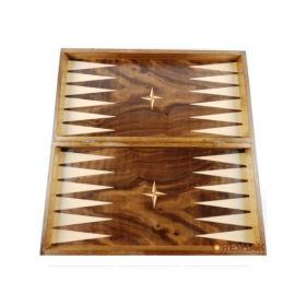 Дървена кутия за шах и табла, фурнир орех и бук