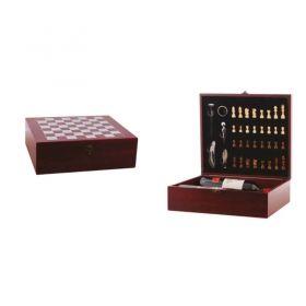 Комплект за 2 бутилки вино с шах, 36x32x11 см, дървена кутия